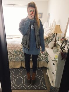 """southerly-styled: """"OOTD - J.Crew Herringbone Vest Alpha Phi Comfort Colors Sweatshirt Nike Leggings L. Fall College Outfits, Cute Fall Outfits, Preppy Outfits, Fall Winter Outfits, Autumn Winter Fashion, Fashion Outfits, Preppy College Fashion, Preppy Fall Outfits Southern Prep, College Wear"""