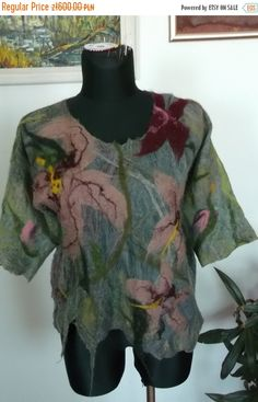 FREE SHIPPING Handmade .Nuno felted Merino wool by fripperyart