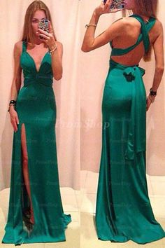 Classy Evening Dresses,V-Neck Evening Dresses,Satin Evening Dresses,Backless Evening Dresses,Long Prom Dresses from Beauty Prom Gowns Elegant, Modest Formal Dresses, Split Prom Dresses, V Neck Prom Dresses, Cheap Prom Dresses, Dress Prom, Party Dresses, Dress Long, Dresses Dresses