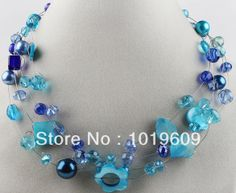Hot Selling New Style 17.7 Inches Blue Crystal and Shell  Necklace for Women Free shipping