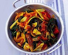 Jamie Oliver Swiss Chard Stew Swiss Chard Recipes, Jamie Oliver, Side Recipes, Thai Red Curry, Stew, Veggies, Vegetarian, Favorite Recipes, Fresh