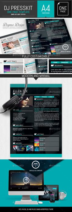 Vice: Dj / Musician OnePage Resume Indesign Template by DogmaDesign This stylish professional one page press kit template is perfect as press kit and resume for artist, dj, producer, musician and si