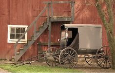 Amish Barn and Buggy, Lancaster County, Pennsylvania by John Pearson