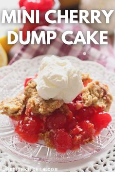 This Cherry Dump Cake recipe is the easiest dessert recipe in the world! Made with cherry pie filling, Maraschino cherries, and boxed cake mix. Quick, easy to make, and incredibly delicious. Enjoy this wonderful cake with a scoop of vanilla ice cream or whipped cream for an amazing dessert! Summer Dessert Recipes, Easy Desserts, Slushie Recipe, Single Serving Recipes, Dump Cake Recipes, Cooking For One, Ice Cream Recipes, How To Make Cake, Maraschino Cherries