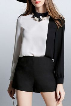 $43.99 Color Block Chiffon Blouse