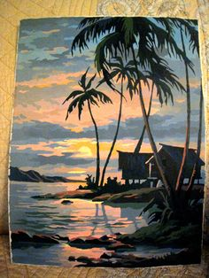 """VINTAGE PAINT BY NUMBER 12""""BY16"""" TREE WITH WATER, ISLAND SCENE, EARLY 60'S"""