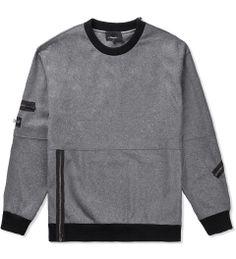 3.1 Phillip Lim Heather Grey Crewneck Pullover w/ Zipper Detail   Hypebeast Store