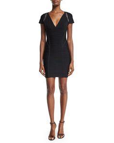 Cap-Sleeve Crochet-Inset Bandage Dress, Black by Herve Leger at Neiman Marcus.