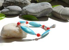 Bracelet en nacre et corail,bijou bohème zen,billes argentées,goutte,couleurs orange, turquoise et argentée,argent plaqué : Bracelet par lapassiondisabelle