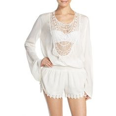 Women's Elan Crochet Inset Cover-Up Romper (225 BRL) ❤ liked on Polyvore featuring swimwear, cover-ups, white, white bathing suit cover up, white bathing suit, swimsuit cover ups, swim suit cover up and bathing suit cover ups