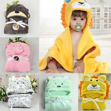 Infant Hooded Wrap Baby Animal Design Bath Towel Coral Fleece Blanket Bathrobe
