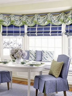 Love the large box pleat skirt on chair the plaid roman shades.
