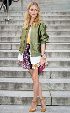 Olivia Palermo from Bomber Jackets, the Celeb Way The sheen on this army green bomber brings it to another fashion level.