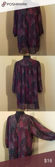 """Red/Black Patchwork Sheer Print Blouse, XL $12 $54 SIZE XL Sheer black, red and gray patchwork print smocked tunic with 3/4 sleeves and v-neck.   31"""""""" length, 54"""""""" bust.  Size XL by Ana. a.n.a Tops Blouses"""