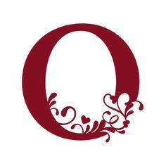 Silhouette Design Store: flourish heart monogram - o