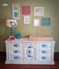 """""""Ugly"""" furniture makeover and ADORABLE nursery!  Now.... where can I find a dresser like that!  So much personality!"""