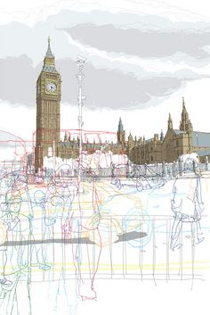 Big Ben-Traffic by Rupert Van Wyk City Collage, A Level Art Sketchbook, Building Sketch, Sense Of Place, Architecture Drawings, Urban Sketching, Urban Landscape, Urban Art, Big Ben