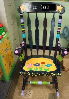 Every teacher deserves a personalized rocking chair for their classroom.I may have to start hinting to my grandma so that she can paint me one!) A place to lay your quilt. Teacher Rocking Chairs, Teacher Chairs, Painted Rocking Chairs, Hand Painted Chairs, Hand Painted Furniture, Funky Furniture, Colorful Furniture, Furniture Ideas, Paint Furniture