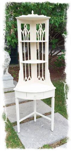 Vintage White Corner Display Whatnot Shelf $385