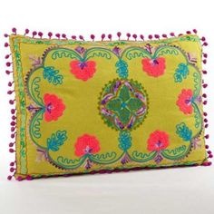 Embroidered Botanical Decorative Pillow - Lime