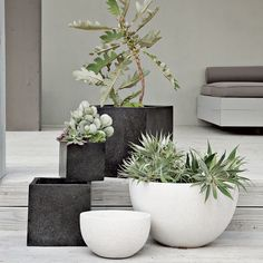 Fantastic Photo contemporary Garden Planters Style Pots, tubs, and half barrels packed with flowers add appeal to your garden, but container gardening Contemporary Planters, Modern Planters, Outdoor Planters, Outdoor Gardens, Planter Pots, White Planters, Contemporary Gardens, Large Planters, Concrete Planters
