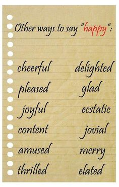"Other ways to say ""happy"""