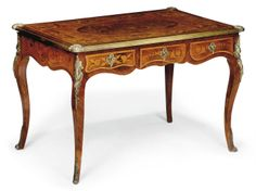 A FRENCH BURR WALNUT, FRUITWOOD, KINGWOOD AND MARQUETRY BUREAU PLAT OF LOUIS XV STYLE, LATE 19TH CENTURY