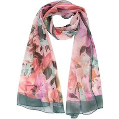 Gina-sheer silk scarf laura biagiott-pink (135 AUD) ❤ liked on Polyvore featuring accessories, scarves, pink scarves, pink shawl, floral shawl, floral scarves and floral print scarves
