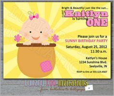 Sunny Birthday Invitations Product No 137  Spring or by LullabyLoo, $18.00