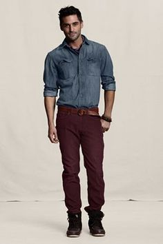 Lands' End Canvas Holiday Look - Slim Fit Cords in Merlot. $59.50.  Low-rise attitude — slim leg upper and slim-straight lower leg that is inline with today's look.