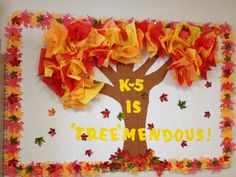 I like the border of leaves. Replace K-5 with any class name! This is a great fall board.