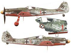 Fw.190D-9 Papegai Staffel./JV 44 Serial: 1 (W.Nr.600424) Pilot - Lt. Heinz 'Heino' Sachsenberg. Munchen-Reich, April 1945. Note: inscription under cockpit 'Verkaaft's mei Gwand 'I foahr in himmel!' (Sale my stuff I go sky!).