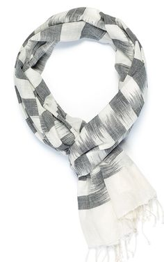 Handwoven Checkerboard Ikat Black and White by IndigoHandloom