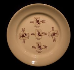 """Hotel Rogers Coffee Shop, Idaho Falls 9"""" Plate  by Shenango China, 1951 Offered by Track 16. http://www.track16.com #restaurantware #restaurantchina"""