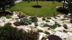 White stones landscaping - Nowadays, the owners can buy natural or manufactured stones. And if you live in a rural area Stone Landscaping, Manufactured Stone, Landscape Materials, Rural Area, White Stone, Decorative Objects, Stepping Stones, House Design, Building