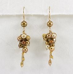 Chocolate Brown Pearl Earrings Long Pearl Earrings Pearl