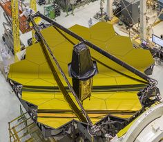 James Webb Space Telescope's Golden Mirror Inside the clean room at NASA's Goddard Space Flight Center the golden James Webb Space Telescope is viewed from overhead with its secondary mirror booms stowed. In the next few months engineers will install other key elements and take additional measurements to ensure the telescope is ready for space. April 29 2016