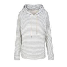 Armedangels: Jolene Stripes - Damen Hoodie - Grey Melange Off White | zündstoff