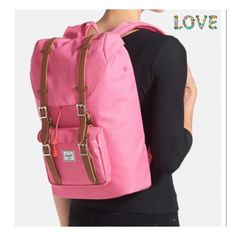 """Herschel Supply Hot Pink Backpack Magnetic snap-tab flap with cinch-cord closure. Adjustable shoulder straps. Exterior snap-tab flap pocket with zip closure beneath; key clip. Interior hook-and-loop-closure pockets; padded laptop compartment. Fits most 15"""" laptops. 100% polyester. Color - Hot Pink By Herschel Supply Co.; imported. Brand New store display with Herschel tags. Also Has a store tag . Inside marked for returns.Sorry no Trades. Herschel Supply Company Bags Backpacks"""