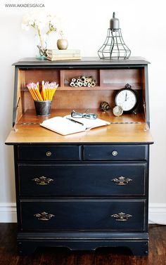 From a sad thrifted find to a beautiful painted secretary desk! Using Fusion Mineral Paint's Ultra Grip and Coal Black the transformation is stunning! Refurbished Furniture, Paint Furniture, Repurposed Furniture, Furniture Projects, Desk Makeover, Furniture Makeover, Painted Secretary Desks, Painted Desks, Furniture Restoration