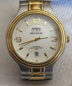 Mens MILAN Two Tone Dress Watch with Seperate Day and Date Windows  #MILAN #Fashion