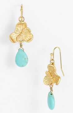 Cara Accessories Flower & Stone Drop Earrings available at Nordstrom