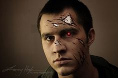 This tutorial will show how to create simple Terminator style battle damage makeup which can be used for film or Halloween.or whatever you decide. Thank you again Scott for being my model. Lets get started. This is what I use to create this. Up Costumes, Couple Halloween Costumes, Halloween Make Up, Halloween Face Makeup, Halloween Couples, Halloween Ideas, Costume Ideas, Terminator Makeup, Terminator Costume