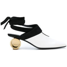 JW Anderson cylinder heel ballet mules ($1,050) ❤ liked on Polyvore featuring shoes, white, white ballet shoes, white mules, white mules shoes, ballet shoes and white ballerina shoes