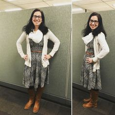 LuLaRoe NICOLE dress with a cardigan, belt, LuLaRoe leggings, & tall boots - PERFECT for fall