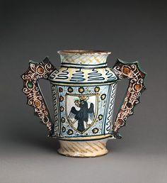 #Maiolica -- Two-handled Storage jug (albarello) w/ Crowned Eagles -- Circa 1460-80 -- Deruta -- The Metropolitan Museum of Art