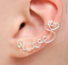 """No Piercing Left Ear Cuff """"LOVE"""" with a heart - silver plated"""