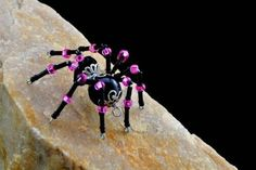 This Large Twisted Spider has a blue glass crystal body accented with blue black and silver beaded legs It can be finished as a pin magnet necklace or ornament YOU Spider Art, Beaded Spiders, Hair Clips, Bobby Pins, Hot Pink, Hair Accessories, Crystals, Handmade, Color