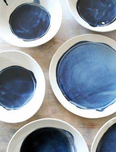 Modern Deep Blue Dinner Plates from MB Art Studios