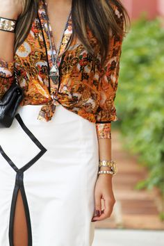 Loving the white skirt with contrast trim. *NEED* one of those!